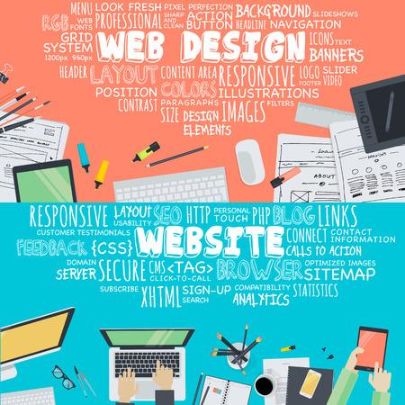 Set flache Design, Illustration Konzepte für Web-Design und Entwicklung. Konzepte für Web-Banner und Werbematerial. Standard-Bild - 37449679