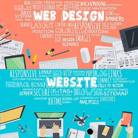 Web デザインと開発のための平らな設計図概念のセットです。Web バナー、販促資料の概念。