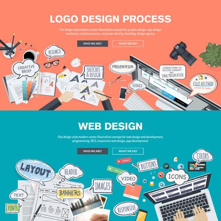 Set flache Design, Illustration Konzepte für Logo-Design und Web-Design-Entwicklung. Konzepte für Web-Banner und Werbematerial. Standard-Bild - 37449680