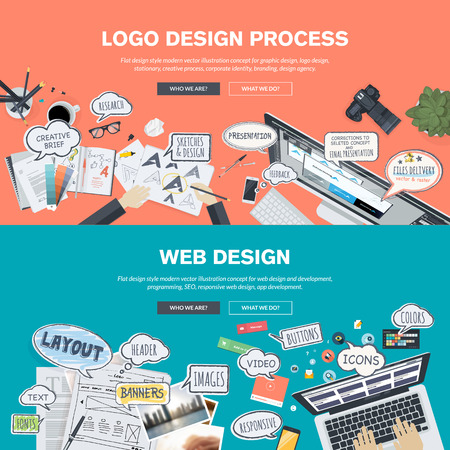 Set of flat design illustration concepts for logo design and web design development. Concepts for web banner and promotional material. Vector