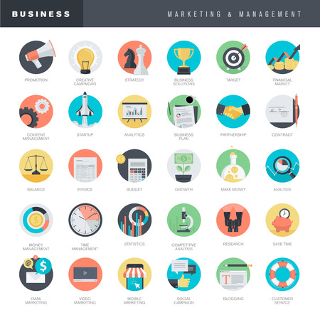 content management: Set of flat design icons for business and marketing