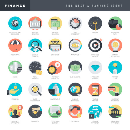 business support: Set of flat design icons for business and banking