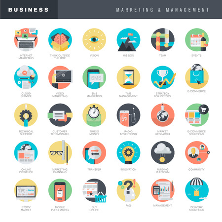 Set of flat design icons for marketing and management Çizim
