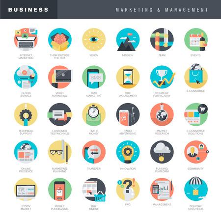 Set van platte design iconen voor marketing en management