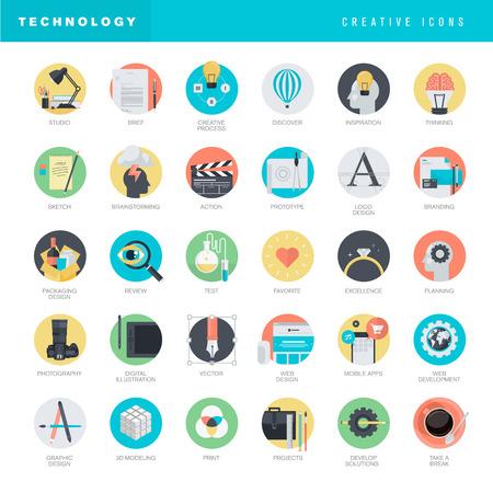 그래픽 및 웹 디자인 플랫 디자인 아이콘의 집합 일러스트
