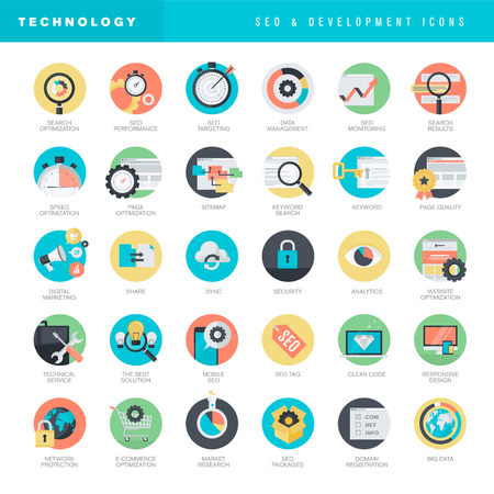 Set of flat design icons for SEO and website development Illusztráció