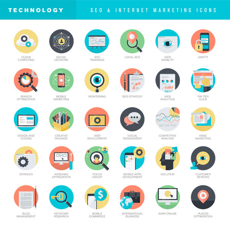 computer training: Set of flat design icons for SEO and internet marketing