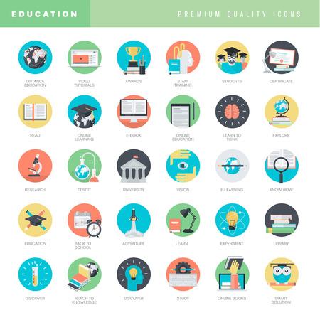 aprendizaje: Conjunto de iconos del diseño planas para la educación