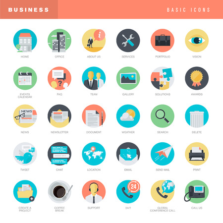 Set of flat design icons for business Çizim