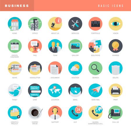Set of flat design icons for business Illustration