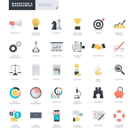 Set of modern flat design business and marketing icons for graphic and web designers Çizim