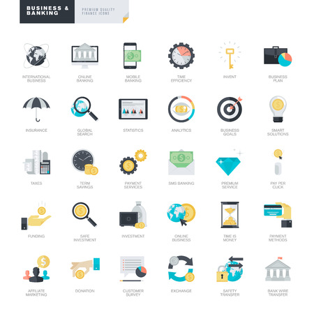 icons business: Set of modern flat design business and banking icons for graphic and web designers