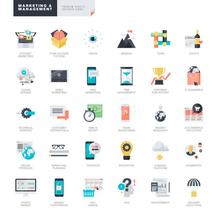 business sign: Set of modern flat design marketing and management icons for graphic and web designers