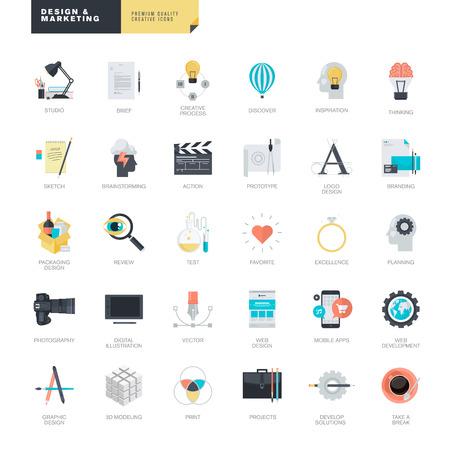 그래픽 및 웹 디자이너를위한 현대적인 평면 디자인 아이콘의 집합 일러스트