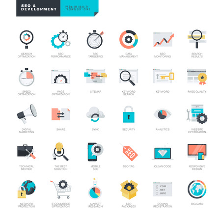 set: Set of modern flat design SEO and website development icons for graphic and web designers