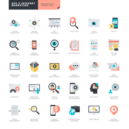 monitoreo: Conjunto de moderno diseño de SEO y marketing en Internet iconos planos para diseñadores gráficos y web
