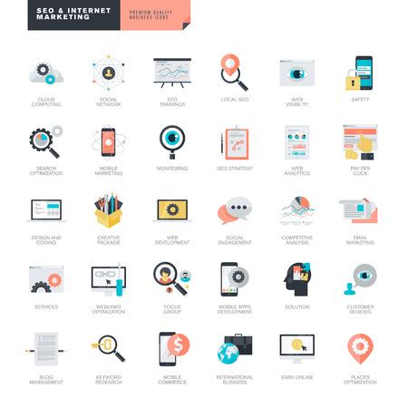 Ensemble de SEO de conception et de marketing internet icônes plats modernes pour les graphistes et web Vecteurs