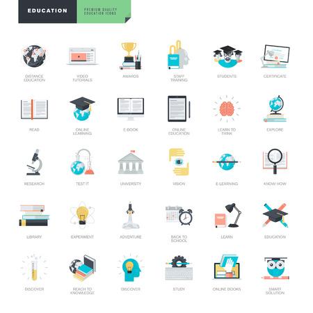그래픽 및 웹 디자이너를위한 현대적인 평면 디자인 교육 아이콘의 집합