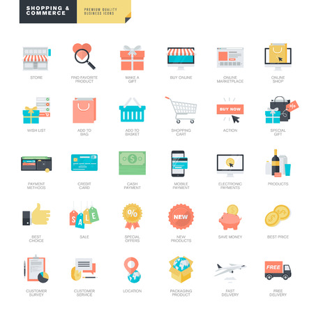 product purchase: Set of modern flat design online shopping and e-commerce icons for graphic and web designers