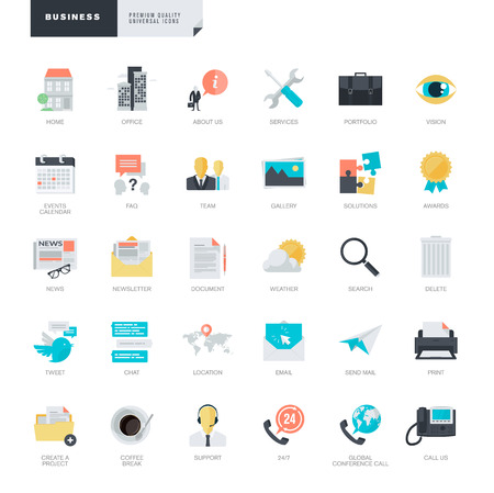 events: Set of modern flat design business icons for graphic and web designers
