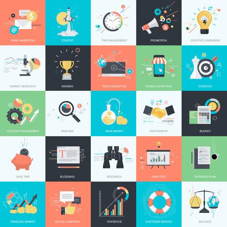 mercadotecnia: Conjunto de iconos del concepto de estilo de diseño de planos de diseño gráfico y web. Iconos para la comercialización del Internet, los negocios, las finanzas.