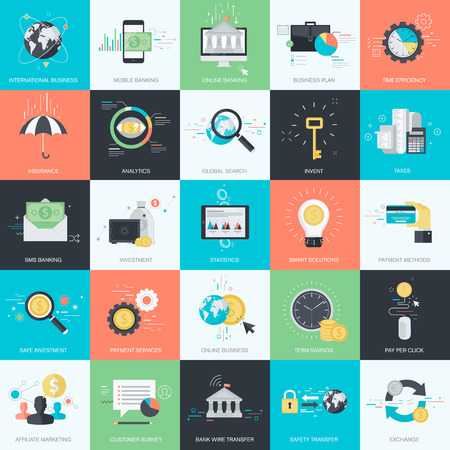 그래픽 및 웹 디자인을위한 평면 디자인 스타일의 개념 아이콘의 집합입니다. 금융, 은행, M 뱅킹, 비즈니스, 투자, 마케팅, 전자 상거래에 대 한 아이콘 일러스트