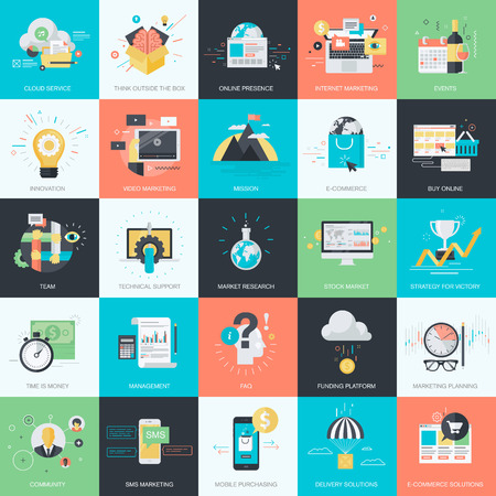 stock illustration: Set of flat design style concept icons for graphic and web design. Icons for marketing, business, e-commerce, m-commerce, finance.