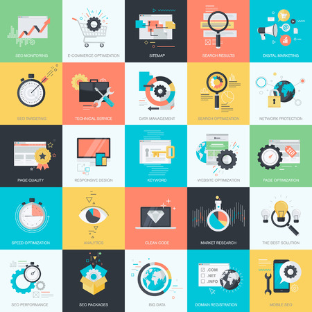 Set of flat design style concept icons for graphic and web design. Icons for website development, SEO, coding, e-commerce, digital marketing, app development, internet services.