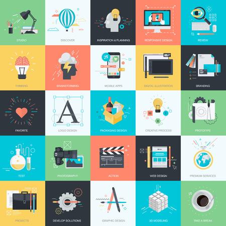 proceso: Conjunto de iconos de concepto de estilo de dise�o planos de dise�o gr�fico y web. Iconos para dise�o y desarrollo web, dise�o gr�fico, desarrollo de aplicaciones m�viles, dise�o de producto, la marca, identidad corporativa, dise�o de packaging, papeler�a, fotograf�a. Vectores