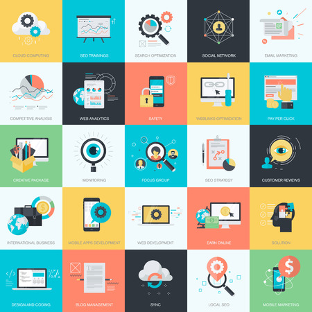 web development: Flat design icons for graphic and web design. Icons for website development, SEO, e-commerce, m-commerce, online marketing, cloud computing, social media. Illustration