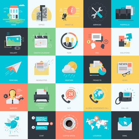 gestion: Conjunto de iconos del concepto de estilo de diseño de planos de diseño gráfico y web. Iconos básicos para el diseño de página web.