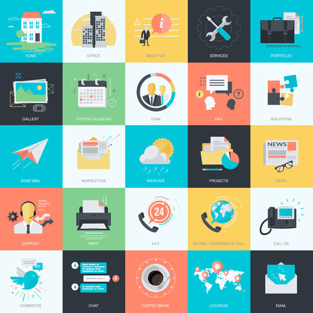 information management: Set of flat design style concept icons for graphic and web design. Basic icons for website design.