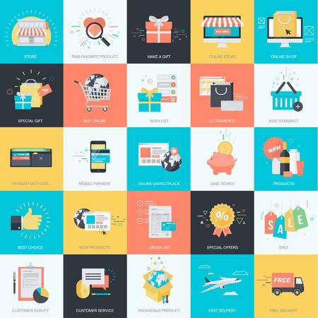 Set van platte design stijl begrip iconen voor grafische en webdesign. Pictogrammen voor e-commerce, m-commerce, online winkelen.