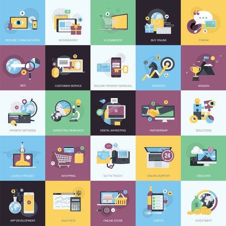 Flat design style concept icons on the topic of e-commerce, m-commerce, business, finance, website and app development, SEO, digital marketing, social media, events.