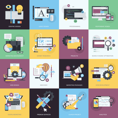 Flat design style concept icons on the topic of graphic design, icon design, website design and development, responsive design, app development, SEO, digital marketing, project management, business, marketing management, market research.