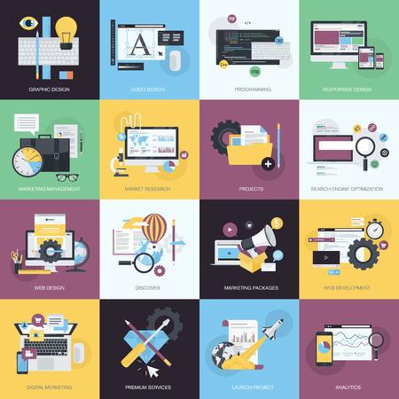 Flache Design-Stil-Konzept Symbole auf das Thema Grafik-Design, Icon Design, Website-Design und Entwicklung, die Konstruktion, App-Entwicklung, SEO, digitales Marketing, Projektmanagement, Business, Marketing Management, Marktforschung.