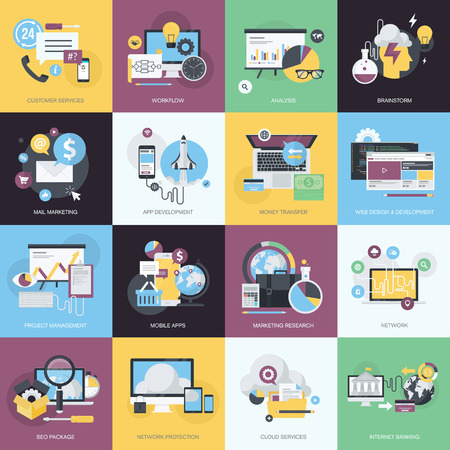 Flat design style concept icons on the topic of web design and development, mobile apps, email marketing, cloud services, SEO, internet banking, network protection, brainstorming, customer services, business.