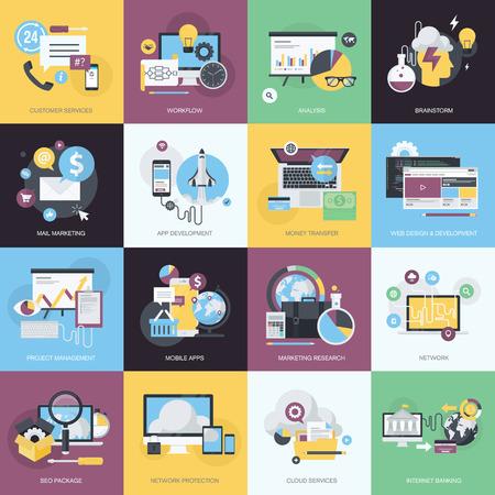 apoyo social: Iconos planos concepto de estilo de dise�o sobre el tema del dise�o y desarrollo web, aplicaciones m�viles, email marketing, servicios en la nube, SEO, banca por Internet, la protecci�n de la red, de intercambio de ideas, servicios al cliente, negocio.