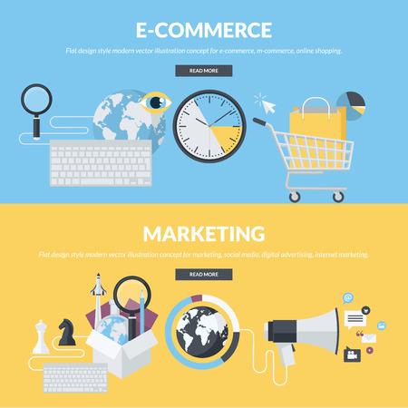 printed media: Set of flat design style concepts for e-commerce, m-commerce, online shopping, marketing, social media, digital advertising, internet marketing. Concepts for website banners and printed materials.