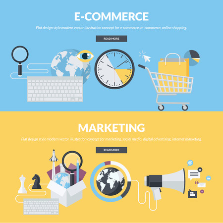 Set of flat design style concepts for e-commerce, m-commerce, online shopping, marketing, social media, digital advertising, internet marketing. Concepts for website banners and printed materials.