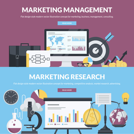 marketing research: Set of flat design style concepts for marketing, business, management, consulting, market research, competitive analysis, advertising. Concepts for website banners and printed materials.