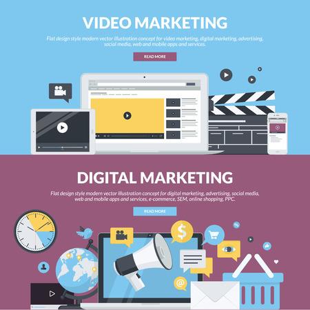 mercadotecnia: Conjunto de conceptos de estilo de diseño planas para la comercialización de vídeo, marketing digital, publicidad, redes sociales, web y aplicaciones móviles y los servicios, el comercio electrónico, SEM. Conceptos para el sitio web de banners y materiales impresos. Vectores