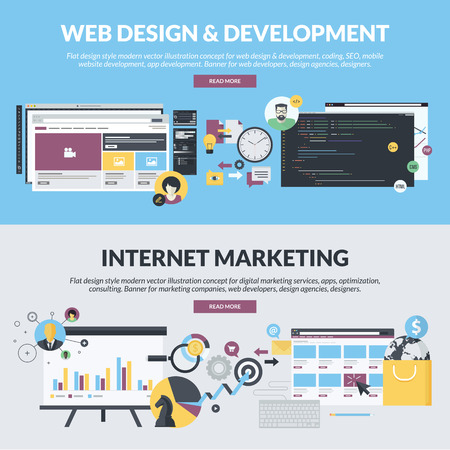 Set of flat design style concepts for web design and development, and internet marketing services, from marketing companies, web developers, design agencies, designers. Concepts for website banners and printed materials. Çizim