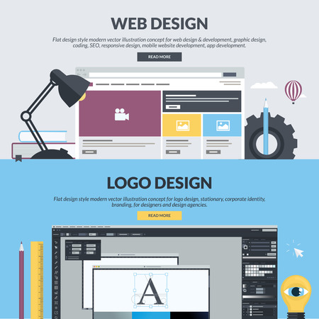 Set of flat design style concepts for web design and development, graphic design, app development, SEO, logo design. Concepts for website banners and printed materials, for designers, web developers, and design agencies. Ilustração