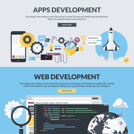 Set of flat design style concepts for website design and development, app development, SEO, mobile site development. Concepts for website banners and printed materials.
