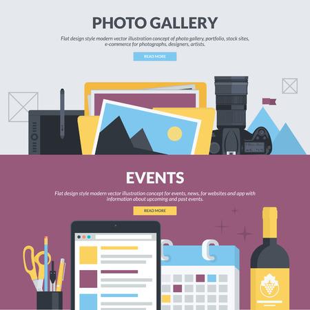 사진 갤러리, 포트폴리오, 주식 사이트, 전자 상거래, 이벤트, 뉴스 플랫 디자인 스타일의 개념을 설정합니다. 디자이너, 사진, 아티스트를위한 웹 사이