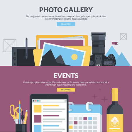 news event: Set of flat design style concepts for photo gallery, portfolio, stock sites, e-commerce, events, news. Concepts for website banners and printed materials, for designers, photographs, artists