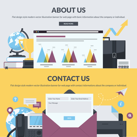 about us: Set of flat design style banners for web pages with basic and contact information about the company or individual.