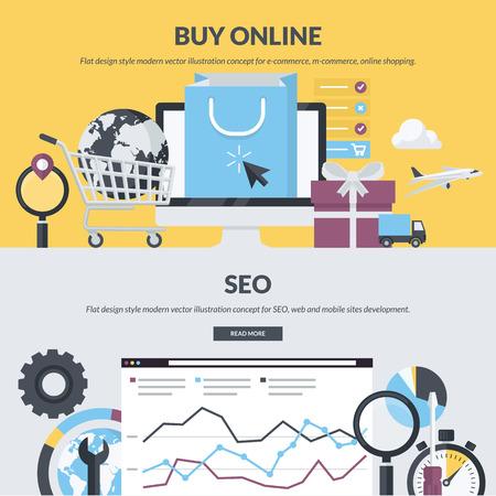 concept: Conjunto de conceptos de estilo de dise�o planas para e-commerce, m-commerce, compras en l�nea, desarrollo web, SEO. Conceptos para el sitio web de banners y materiales impresos.