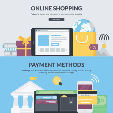 Set of flat design style concepts for e-commerce, m-commerce, online shopping, finance, banking, internet banking, m-banking. Concepts for website banners and printed materials. Stock Illustratie